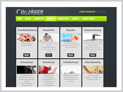 Dr. Jäger Health Care Pain Therapy Orthopedics Website